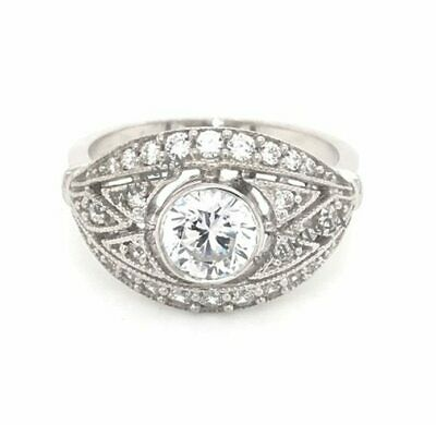 Vintage Art Deco 1.45Ct Round Cut White Diamond 925 Silver Retro Victorian Ring