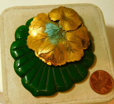 Vintage Celluloid Faux Jade Green Grape Leaf Gold tone Large Pendant 10i 74