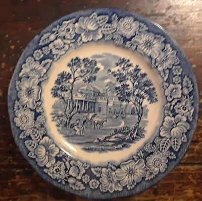 Liberty Blue Monticello Bread Plate Historic Colonial Scene Staffordshire VTG