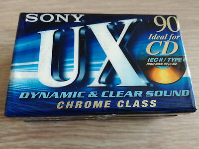 3x Sony UX90 (Type II) Blank Chrome Cassette Tapes (Made in Japan/USA) ©1990