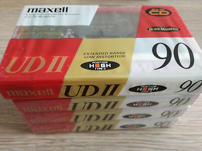 4-Pack MAXELL UDII 90 : 1980-86 : Cassettes - Tapes Made in Japan : NEW & SEALED