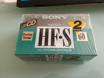 2 PACK -Vintage Audio Cassette SONY HF-S 60 * Rare From France 1985 * NEW SEALED