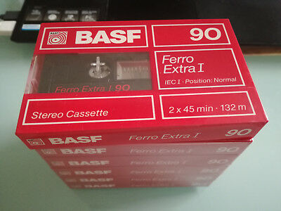 6-BASF Ferro Extra I 90 Blank Audio Cassette 90 Minute Tape NEW Sealed Old Stock