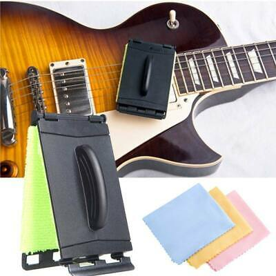 Guitar String Scrubber Rub Maintenance Care Cleaner Brush + 3 Cleaning Cloth Set