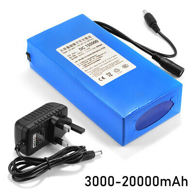 12V 20000mAh Portable Li-ion Rechargeable Battery Pack Polymer Lithium +Charger