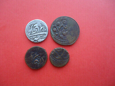 Lot Of 4 Old Islamic  Silver And Copper Coins