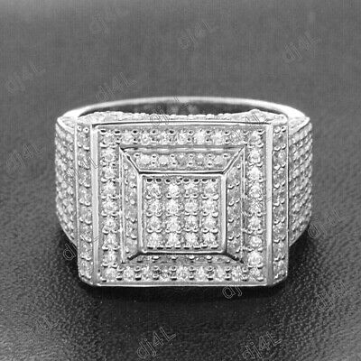 Solid 10K White Real Gold Diamond Pinky Ring Mens Round Square Pave Band 2.00Ct