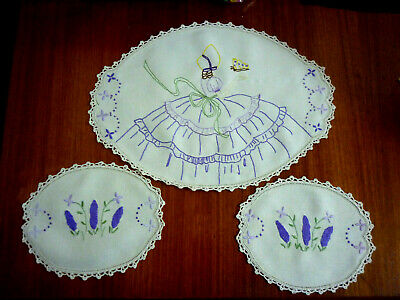 Beautiful Linen Hand Embroidered Hand Crochet Edge Doilies 1 X Large & 2 X Small