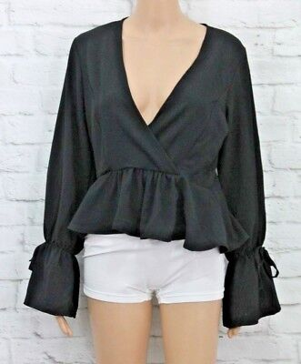 8cc2765bbfb21e Pretty Little Thing Black chiffon deep plunge blouse Size 10 PLT 309