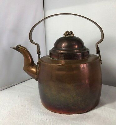 Vintage Antique Handmade Old Copper Kettle Arts & Crafts