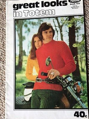 Vintage Patons Knitting Pattern Book 977 Great Looks in Totem - Men's
