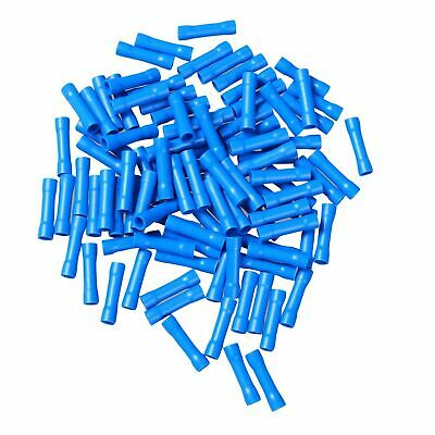 new 100Pcs Car Audio/Alarm Wire Butt Connector Terminals 16-14 AWG GA Gauge Blue