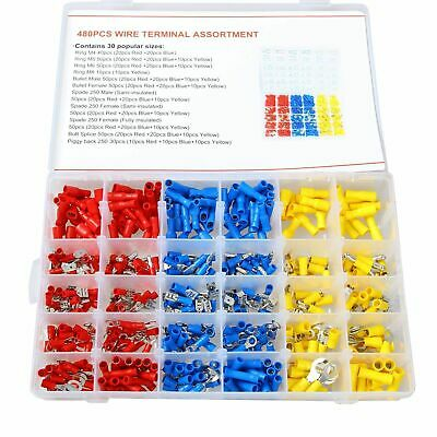 480X Crimp Terminals Case Kit Insulated Assortment Electrical Wire Connector NEW
