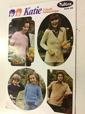 Vintage Patons Knitting Pattern Book 439 Katie 11 Family Knitting Designs