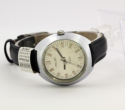 USSR men's mechanical watch Poljot cal. 2609.H, 17 jewels silver dial. Export