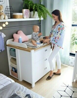 Modern Nursery Chest of Drawers Baby Changing Table Dresser Unit White Oak DR