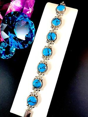 Striking Signed Mexico 925 Sterling Silver Turquoise Stone Link Bracelet