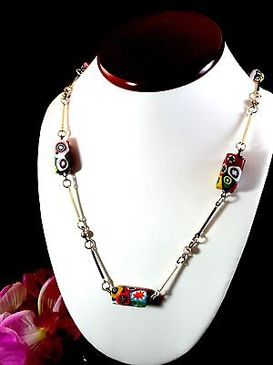Beautiful Vintage Murano Venetian Hand-Decorated Bead Gold-Tone Link Necklace