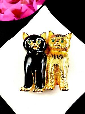 Fabulous Fun Swarovski Swan 18K Gp Black Enamel Pair Of Kitty Cats Brooch Pin