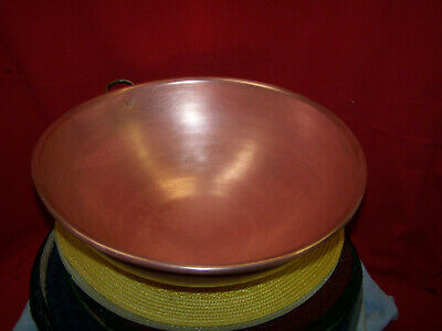 """Copper Vintage Heavy Copper Mixing Bowl 15"""" Wide With Brass Ring"""