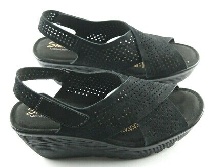 e182feafe2 Skechers Parallel Infrastructure Sandals Womens Sz 7.5 Black Wedge Shoes