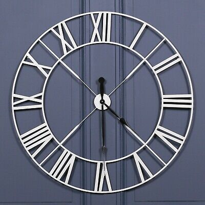 Extra Large 110cm Off White Metal Roman Numeral Wall Clock with Twist Unique