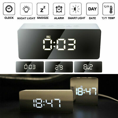Mirror LED Alarm Clock Night Lights Thermometer Digital Clock with USB Charging