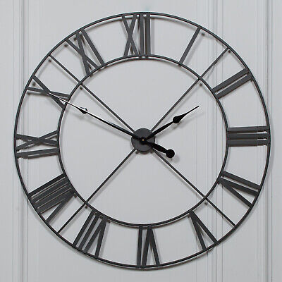Extra Large 110cm Black Metal Wall Clock with Roman Numerals Unique