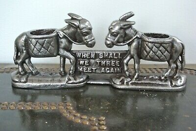 "Victorian cast iron ""Donkey"" vesta match striker holder When shall we Three meet"