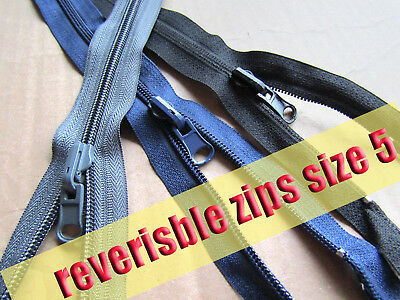 Plastic Zip Reversible Zip No5 Plastic Zipper  Double Sided Coil Zip 3 col 75 cm