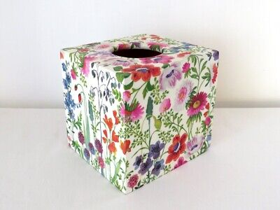Découpage Floral Tissue Box Cover Square Wooden Holder Spring Country Cottage