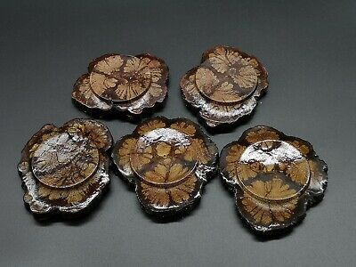 Japanese Wooden Drink Coaster Saucer Chataku 5pc Natural Floral Brown/Dark light