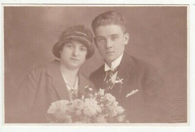 1920s Beautiful young couple Handsome man pretty woman old Czech antique photo
