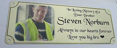 remembrance bench plaque photo memorial, 200mm x 75mm, metal, aluminium