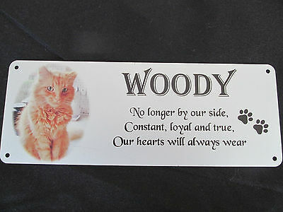 Pet memorial bench plaque for Cats with photo, Aluminium, metal, remembrance