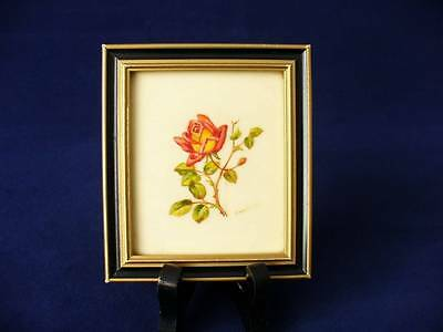 Vintage  Miniature - Oil On Ivorine -  Red & Yellow Rose - Signed Kay Gray