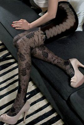 "Trasparenze ""Il Cairo"" Black Var B Floral Long John Tights"