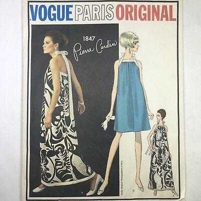 1960s VOGUE PARIS ORIGINAL 1847 Vintage Pattern Cardin Evening Dress Sz 10