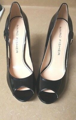 b23054a347 Marc Fisher Black Patent Leather Tumbler Style Open Toe Heels Size 9M