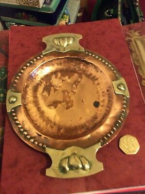 Art Nouveau Arts And Crafts Copper & White Metal Dish Heart Motif's-Planished