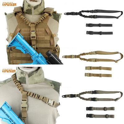 Tactical Military One Single Point Rifle Gun Sling Strap Bungee Vest Accessory