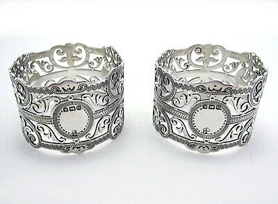 PAIR Antique Sterling Silver Pierced Open Work Napkin Rings Ring English Bristol