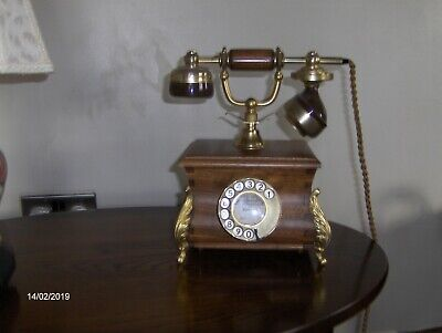 Antique type telephone Oak coloured Wood and Brass