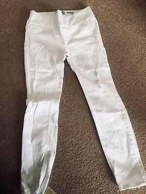 d84e6fb839dad White Stretch Ripped Skinny Jeans Maternity Under Bump Size 8 New Look