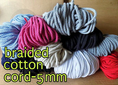 50m/100m Braided Cotton Cord Cotton String 5 Drawstring Cord Rope Craft String