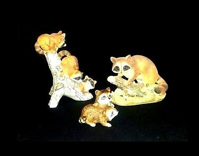 Raccoon Figurines AB 522 Collection of 3 Vintage