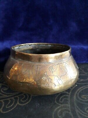 Old  Brass Bowl Hand Made Beaten Hammered Decorated With Pharo Pyramids Etc
