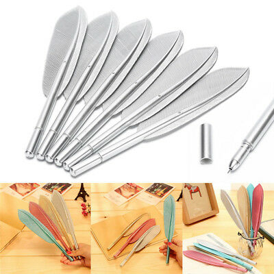 Creative Neutral Solid Color Plastic Water Feather Shape Neutral Pen SupplieHICA