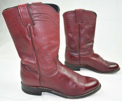 c1487ee617f MEN'S JUSTIN BLACK-CHERRY Leather Cowboy Western Boots Size: 7.5 B ...
