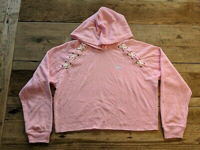 f9e13cf14d7 Pink Victoria's Secret Cupid Pink Logo Cropped Lace Up Hoodie Pullover  Fleece Vs